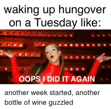 Oops I Did It Again Meme - waking up hungover on a tuesday like oops i did it again another week started another bottle of