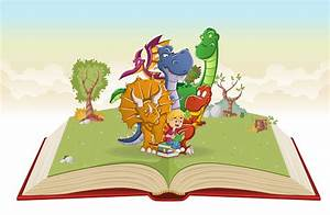 Open, Book, With, Cartoon, Boy, Reading, A, Book, To, Big, Dinosaurs