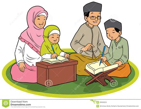Indonesian Family Muslim Celebration Day Vector