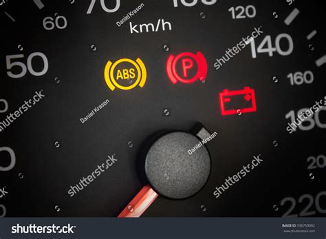 Abs Light Car Dashboard Closeup Stock Photo 336750092
