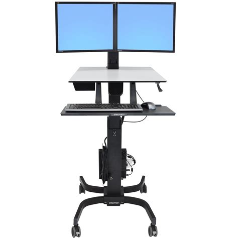 Stand Up Desk Reviews by Sit Stand Cart Ergotron 24 214 085 Workfit C Dual Monitor