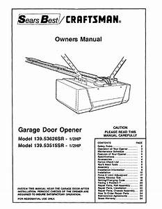 Craftsman 1  2hp Garage Door Opener 139 53515sr User Manual