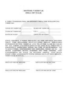 colorado motor vehicle bill  sale  printable
