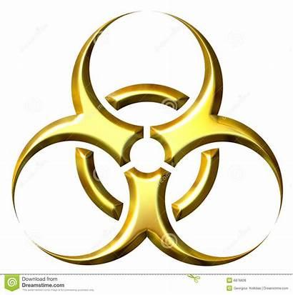 Biohazard Symbol Golden 3d Royalty Isolated
