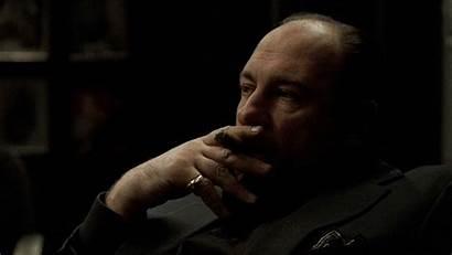 Sopranos Tony Cigar Smoking Tv Bad Gangster
