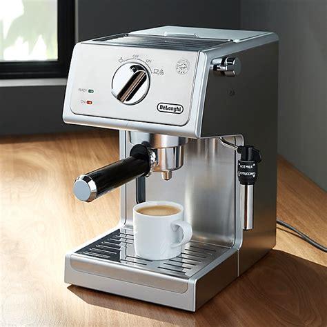 delonghi stainless steel pump espresso maker crate  barrel