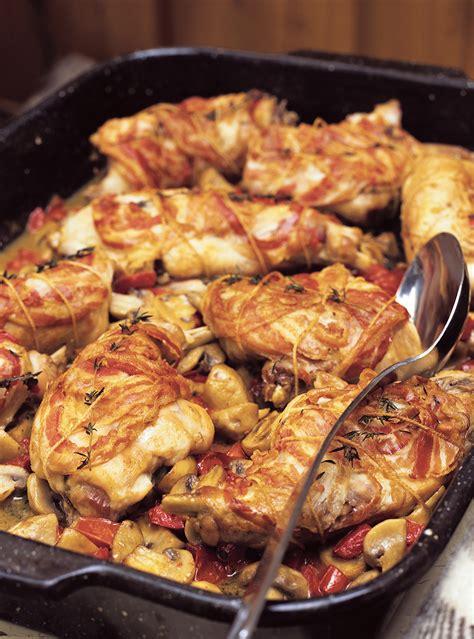 cuisiner le lapin au four lapin à la pancetta et aux chignons ricardo