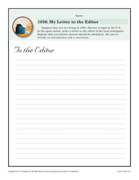 letter to the editor black history month worksheets