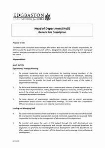 Generic Job Description For Head Of Department