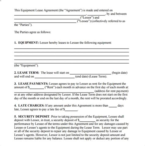 sample room lease agreement templates   ms