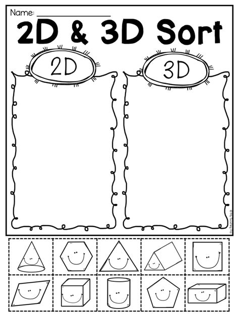grade 2d and 3d shapes worksheets freebies to 2d 3d shapes 3d shapes
