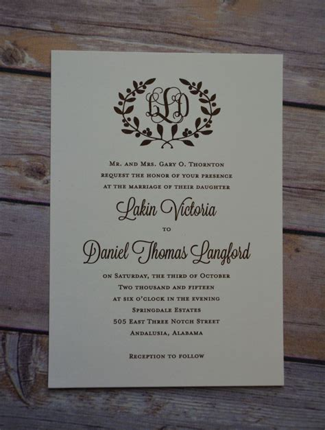 wedding invitations traditional wiregrass weddings