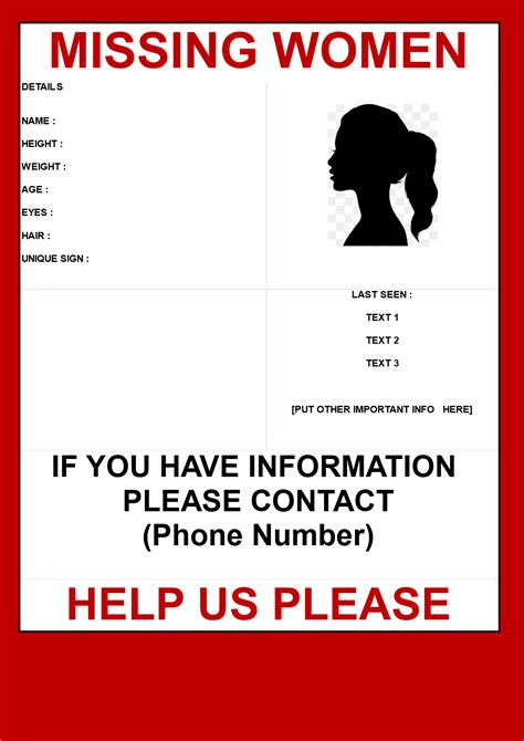 missing woman poster template templates