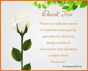 sympathy thank you notes wordings and messages With thank you letter for sympathy flowers