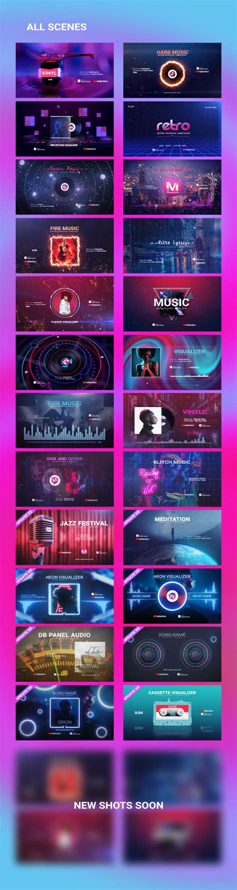 Also, it lets you upload songs from your computer or from soundcloud. Music Visualizer Pack » Free After Effects Template