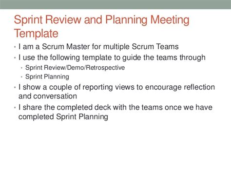 Sprint Retrospective Meeting Template by Sprint Review And Planning Template