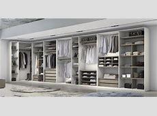 Armario vestidor abierto con rincón curvo