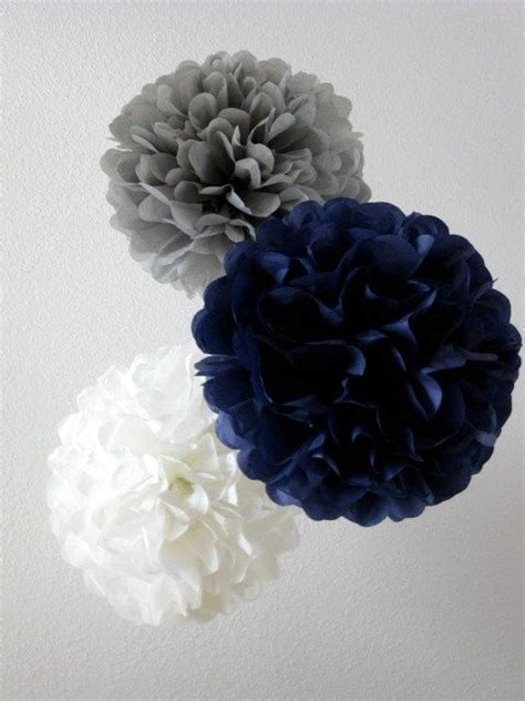Paper Pom Poms Set Of 10 Your Color Choice Navy And