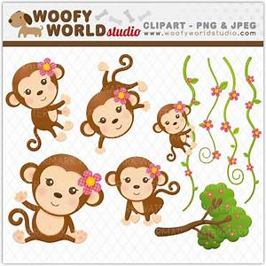 Items similar to Cute Monkey Girl Clipart - INSTANT ...