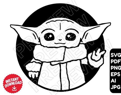 2 adorable baby yoda digital svgs. Baby Yoda SVG vector cut file png Star Wars svg The | Etsy