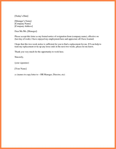 letter of resignation 2 weeks notice two 2 week notice resignation letter exles of simple 49862