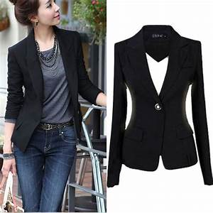 New Fashion S-3XL Women Blazer Jacket Suit Casual Black ...