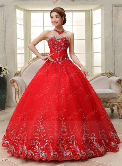 modern strapless crystal red ball gown wedding dress