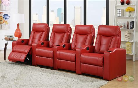 red bonded leather home theater seating row   seats