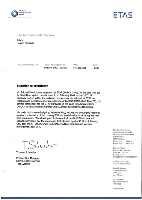 experience certificate format letter sample intent general