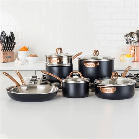 viking matte black tri ply cookware set  piece