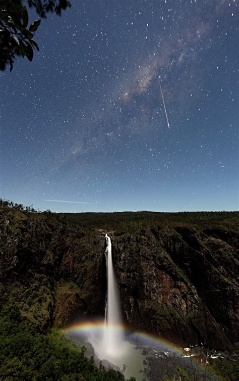 Gorgeous Photograph Captures Moonbow Waterfall Meteor