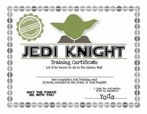 Star wars birthday party ideas invitation games activities printables for Jedi knight certificate