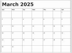 March 2025 Calendar Template
