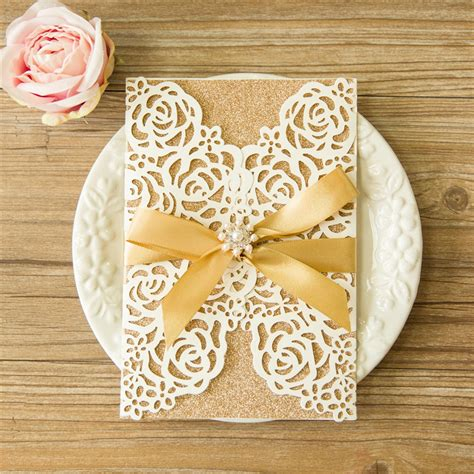 Wedding Rose Design Laser Cut Wedding Invitation Cards