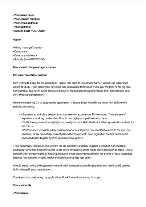 Template Of Cover Letter by Free Cover Letter Template Seek Career Advice