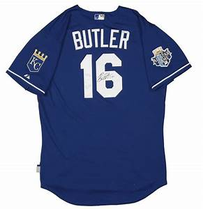 lot detail 2012 billy butler game worn and signed kansas With royals jersey with gold lettering