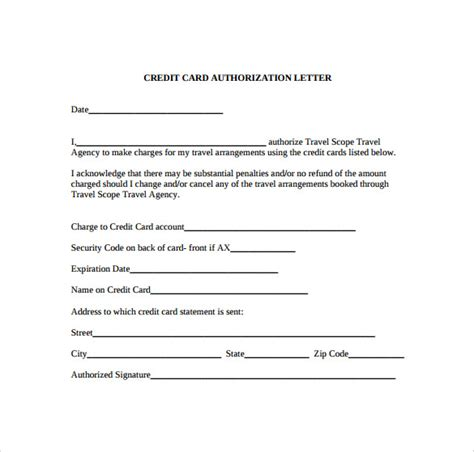 credit card authorization letter   documents