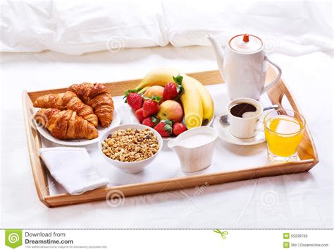 Breakfast in bed stock image. Image of tray, bedroom