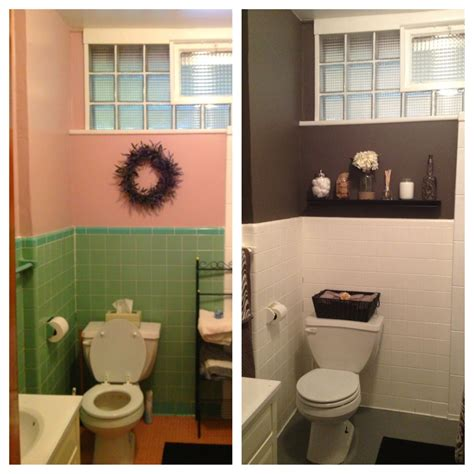 Painting Tile In Bathroom by Diy Bathroom Redo For Less Than 200 Transformed To Gray