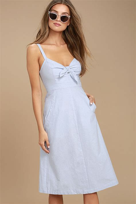 cute light blue dress chambray dress midi dress