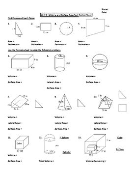 geometry unit 7 area and volume unit review worksheet tpt