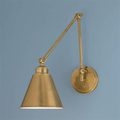 brass swing arm wall l norwell lighting aidan aged brass swing arm l 8475 ag