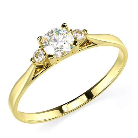 14k solid yellow gold cz cubic zirconia three stone engagement promise ring ebay