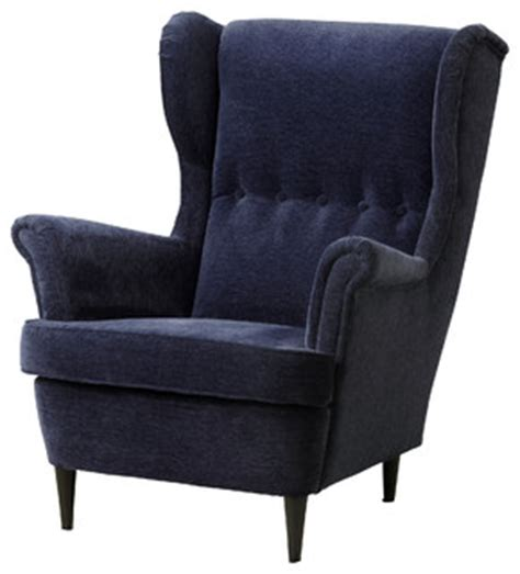 strandmon wing chair vellinge dark blue contemporary