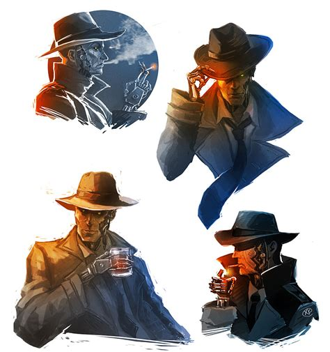 Fallout 4 Nick Valentine Sketches By Maxkennedy On