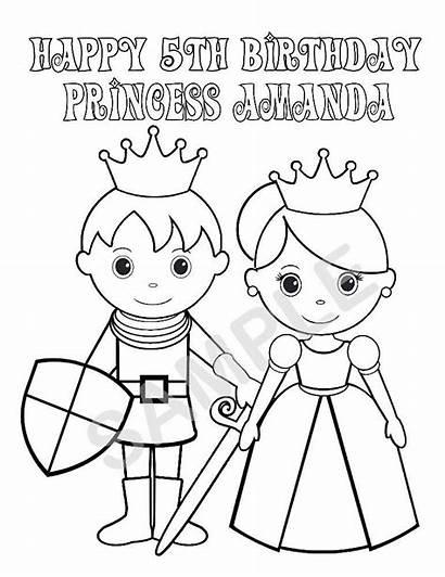Princess Coloring Prince Pages Birthday Printable Knight