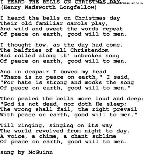 i heard the bells on christmas day by the byrds lyrics