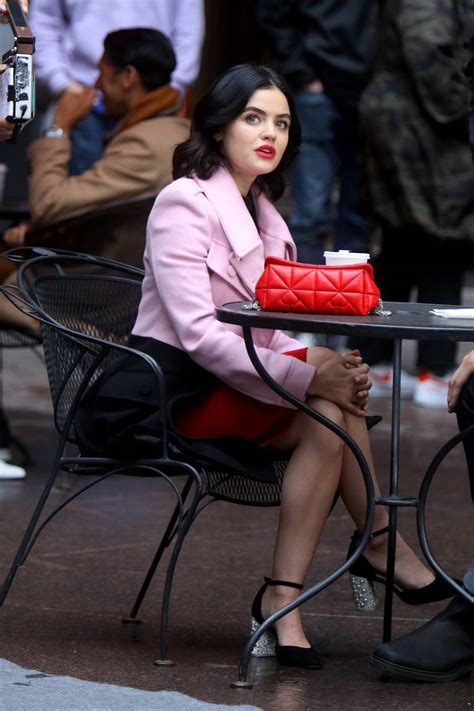 Lucy Hale seen filming a lunch scene on the set of 'Katy ...