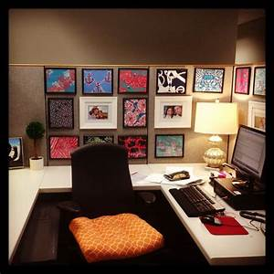 Cubicle decor with dollar tree frames and printed lilly for Office cube decor