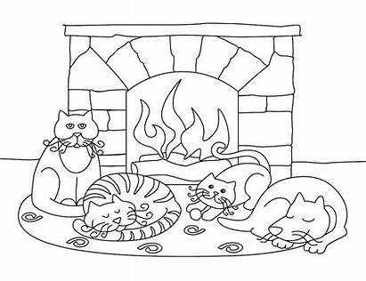 Coloring January Pages Fireplace